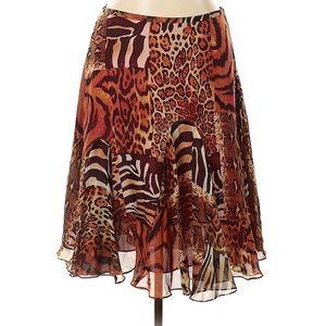 Jones New York 100% Silk Skirt Animal Print